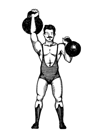 Circus athlete with a dumbbell vector illustration. Scratch board style imitation. Hand drawn image. Çizim