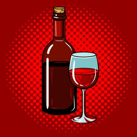 ワインのボトルがガラスのポップアートの手には、ベクトル図が描かれています。  イラスト・ベクター素材