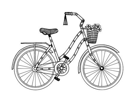 Fiets gravure stijl vector illustratie