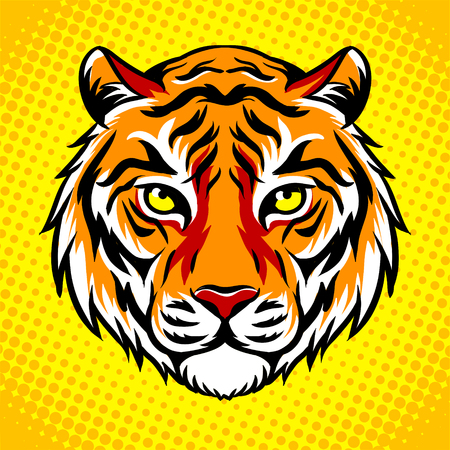 Tiger head pop art style vector illustration Reklamní fotografie