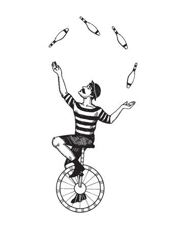 Illustrazione di vettore di giocoliere del circo. Imitazione stile lavagna. Immagine disegnata a mano. Archivio Fotografico - 80816601