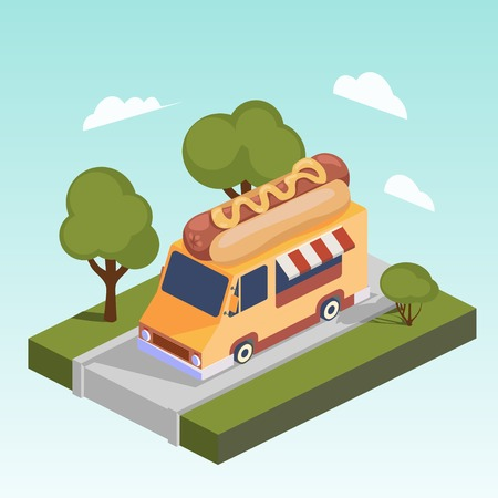 Fast food motor home with hot dog.