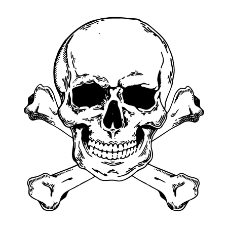 Jolly Roger engraving style.