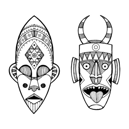 African masks of savages engraving style.