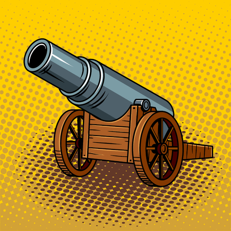 Ancient huge cannon pop art illustration. Ilustração