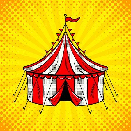 서커스 텐트 대포 팝 아트 그림입니다. 일러스트