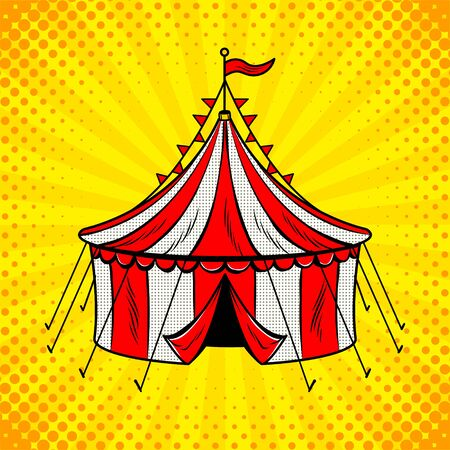 Circus tent cannon pop art illustration.