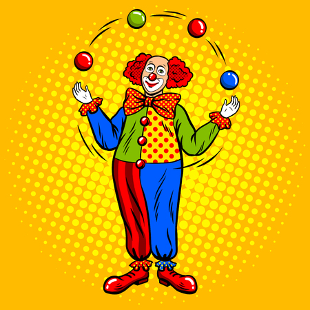 Circus clown juggles with balls pop art. Stock Illustratie