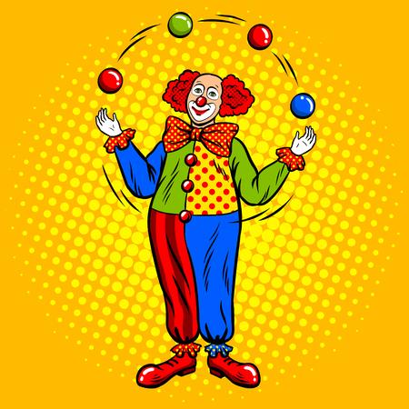 Circus clown juggles with balls pop art. Vettoriali