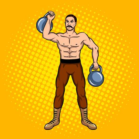 Circus strongman with dumbbell pop art. Stock Vector - 80891058