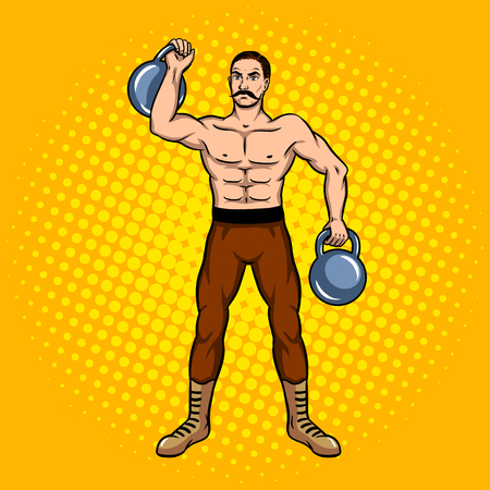 Circus strongman with dumbbell pop art. Illustration