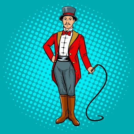 Circus trainer with whip pop art.
