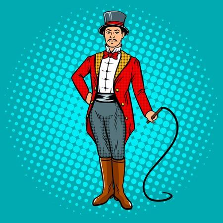Circustrainer met zweeppop.
