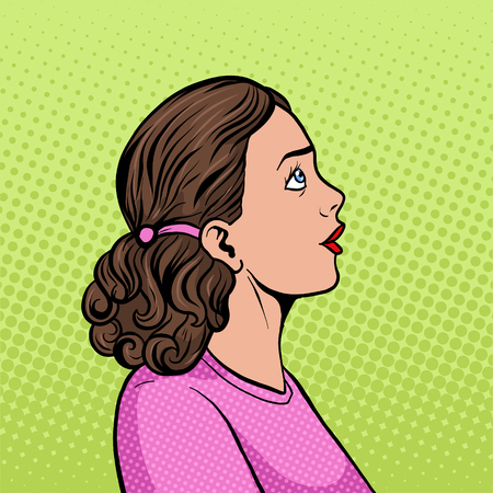 Surprised woman pop art style illustration. Illustration