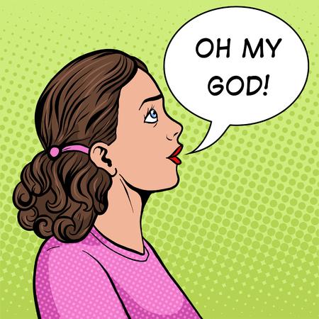 Surprised woman pop art style illustration. Ilustração