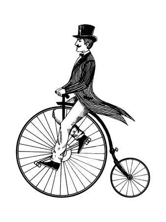 Man on retro vintage old bicycle engraving vector illustration. Scratch board style imitation. Hand drawn image.