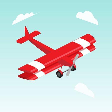 Tweedekker vliegtuig isometrische vectorillustratie