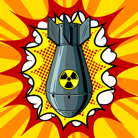 Nuclear atomic bomb pop art style vector