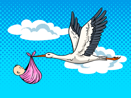 Stork brings baby pop art vector illustration