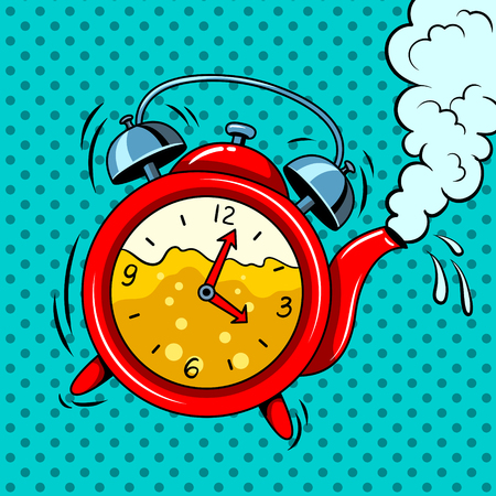 Alarm clock in teapot with tea pop art vector