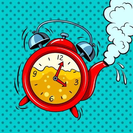 Alarm clock in teapot with tea pop art vector