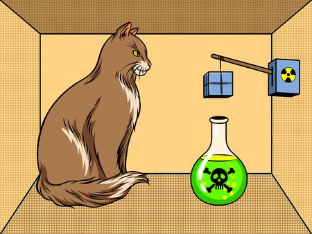 슈뢰딩거의 상자 독약 팝 아트 벡터 상자에 고양이