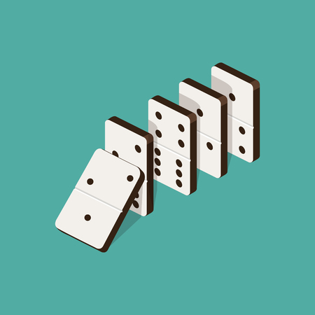 Domino effect isometric vector illustration