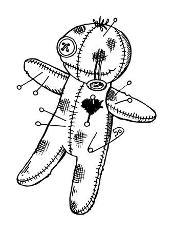 Voodoo doll engraving style vector illustration Illustration