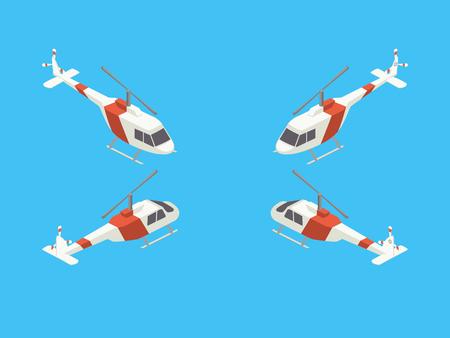 Illustrazione variopinta di vettore di stile isometrico di vettore isometrico di quattro viste dell'elicottero Archivio Fotografico - 81730128