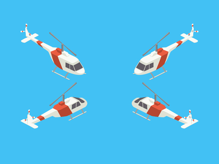 Helicopter four views isometric vector isometric style colorful vector illustration