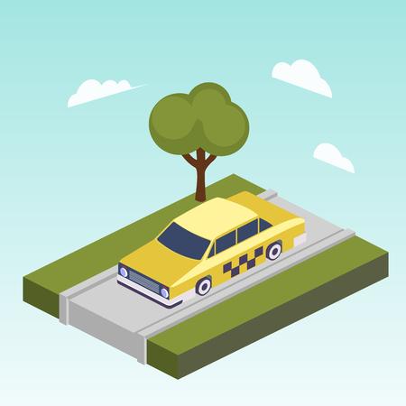 道路等尺性ベクトルのタクシー車  イラスト・ベクター素材