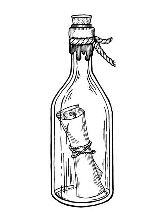 Bericht in een fles die vectorillustratie graveren. Krasplankstijl imitatie. Hand getrokken afbeelding.