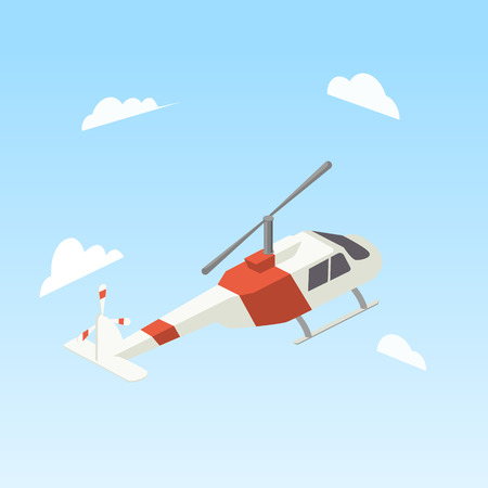 Helicopter white and red colors isometric style colorful vector illustration
