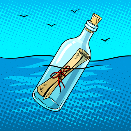 Message in a bottle pop art retro vector illustration. Comic book style imitation. Ilustrace