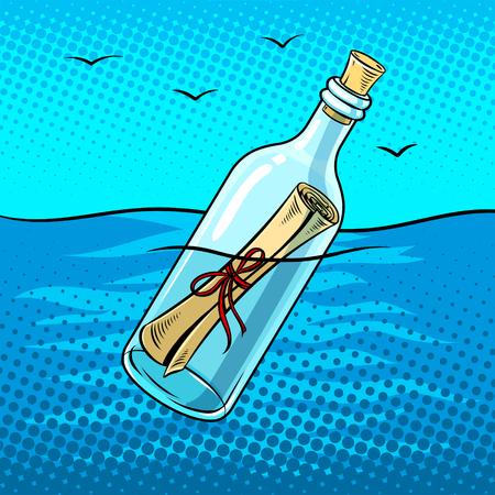 Messaggio in una bottiglia pop art retrò illustrazione vettoriale. Imitazione di stile di fumetti.