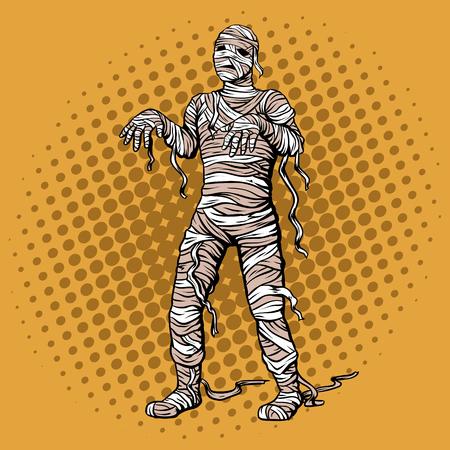 Lopende mummiepop-art retro vectorillustratie. Comic book stijl imitatie. Stock Illustratie