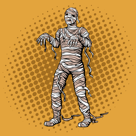 Walking mummy pop art retro vector illustration. Comic book style imitation.