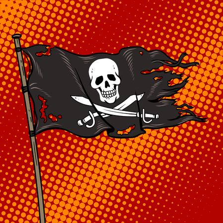 Piraat vlag met heel Roger popart retro vectorillustratie. Comic book style imitatie. Stock Illustratie