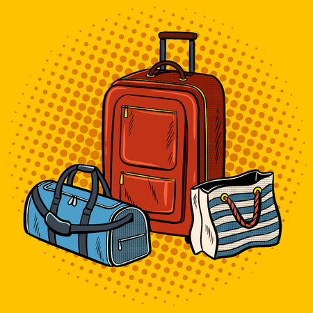 Travel bags pop art retro vector illustration. Comic book style imitation.