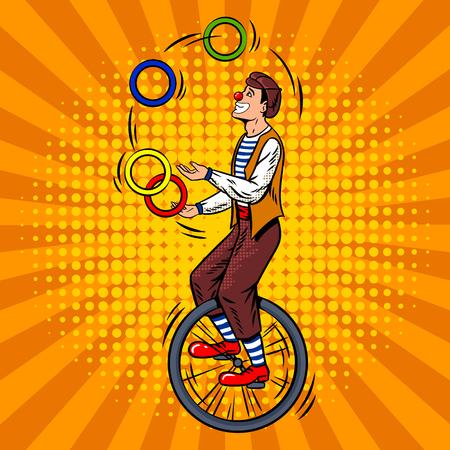 Malabarista de circo en el monociclo del arte pop retro ilustración vectorial. Imitación de estilo de cómic.