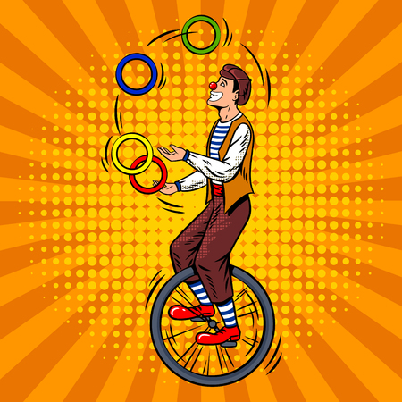 Circus juggler on unicycle pop art retro vector illustration. Comic book style imitation.