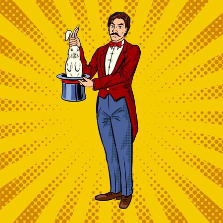 Circus illusionist takes rabbit out of the hat pop art retro vector illustration. Comic book style imitation.