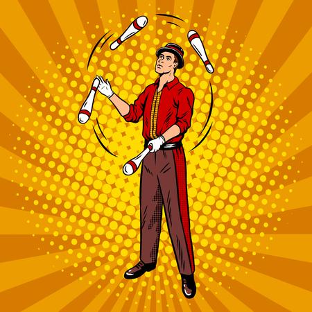 Circus juggler popart retro vectorillustratie. Comic book stijl imitatie.