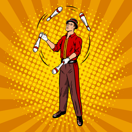 Illustration vectorielle de cirque jongleur pop art rétro. Imitation de style bande dessinée. Vecteurs