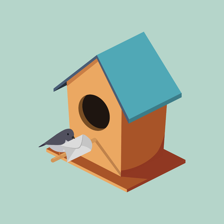 Birdhouse with post bird isometric style colorful vector illustration Illustration