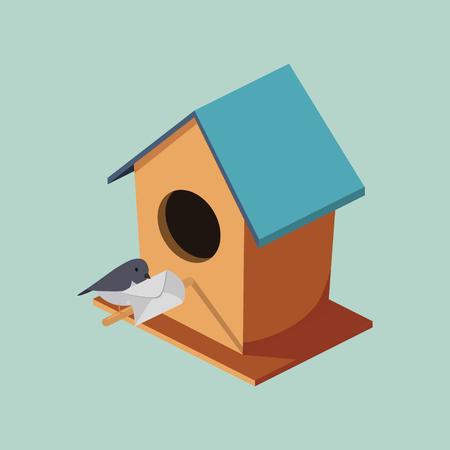 Vogelhuis met post isometrische stijl kleurrijke vectorillustratie Stock Illustratie
