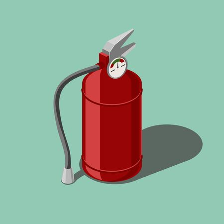 Red fire extinguisher isometric style colorful vector illustration Ilustrace