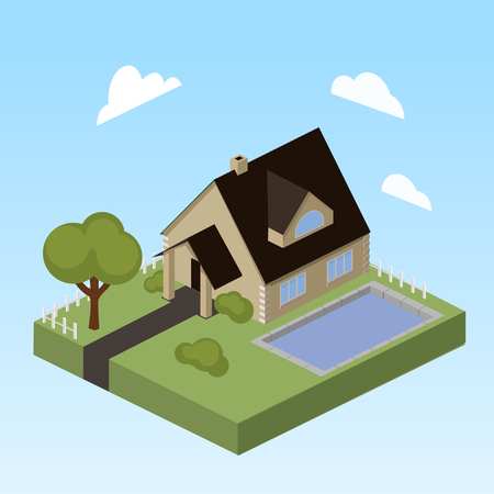 House with swimming pool isometric style colorful vector illustration