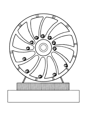 機械の永久運動マシン ベクトル イラスト。スクラッチ ボード スタイルの模倣。手描きイメージ。