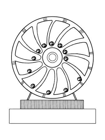 Mechanische eeuwige motie machine vector illustratie. Scratchboard stijl imitatie. Hand getekend beeld.